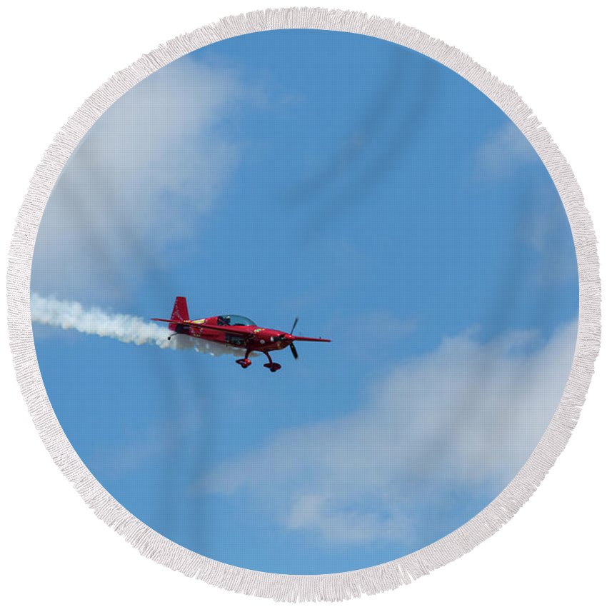 Acrobatic Round Beach Towel featuring the photograph Red Aerobatic Airplane 19 by John Brueske