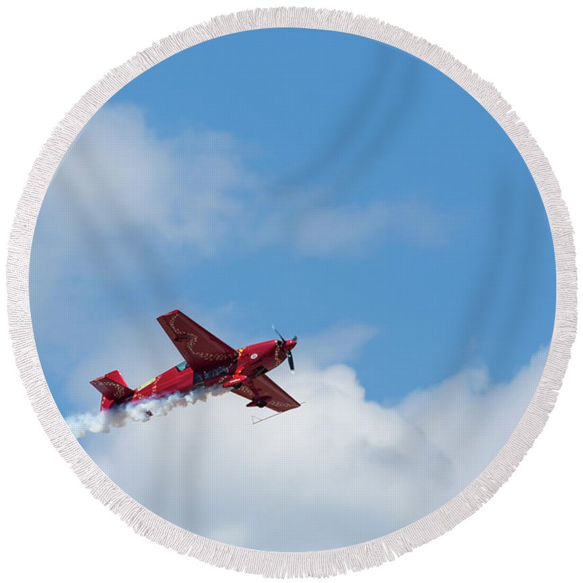 Acrobatic Round Beach Towel featuring the photograph Red Aerobatic Airplane 21 by John Brueske