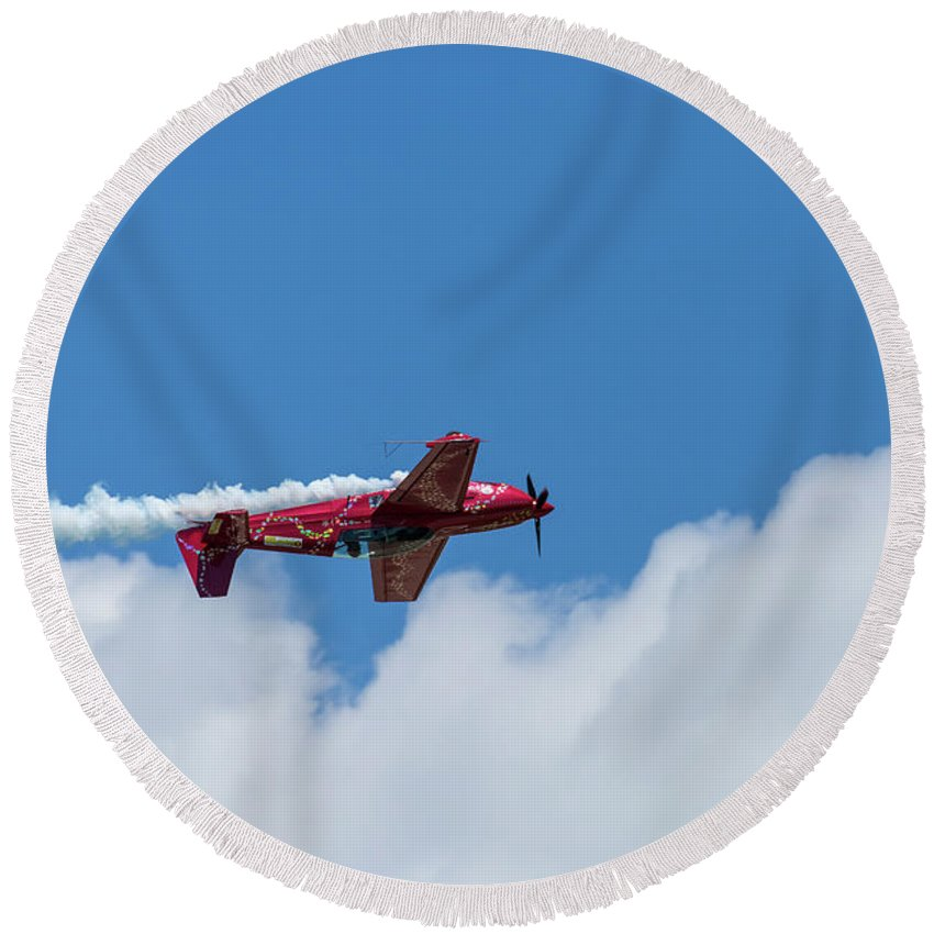 Acrobatic Round Beach Towel featuring the photograph Red Aerobatic Airplane 22 by John Brueske