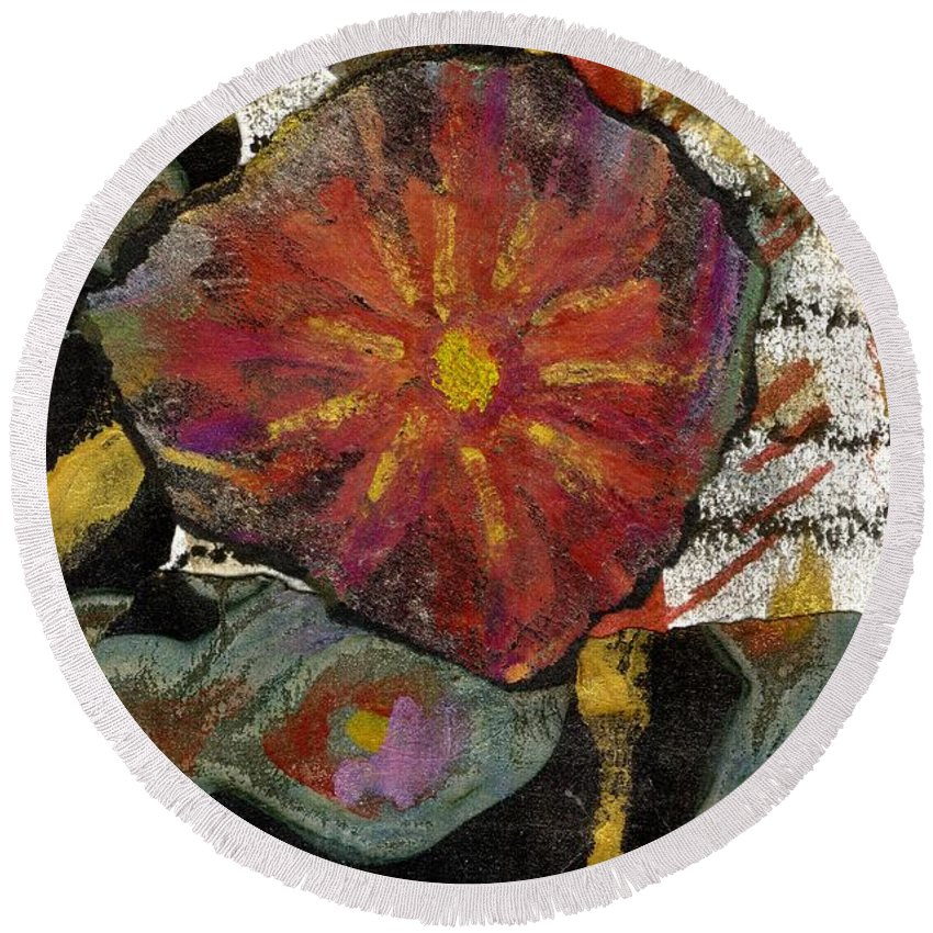 Vibrant Round Beach Towel featuring the mixed media Red Affection by Angela L Walker