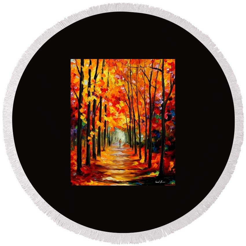 Afremov Round Beach Towel featuring the painting Red Alley by Leonid Afremov