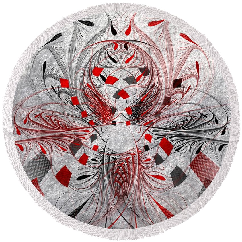 3d Round Beach Towel featuring the digital art Red And Black -f E- by Issabild -