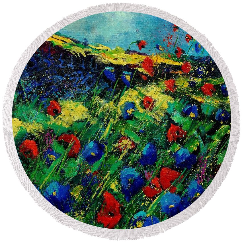 Flowers Round Beach Towel featuring the painting Red And Blue Poppies 56 by Pol Ledent