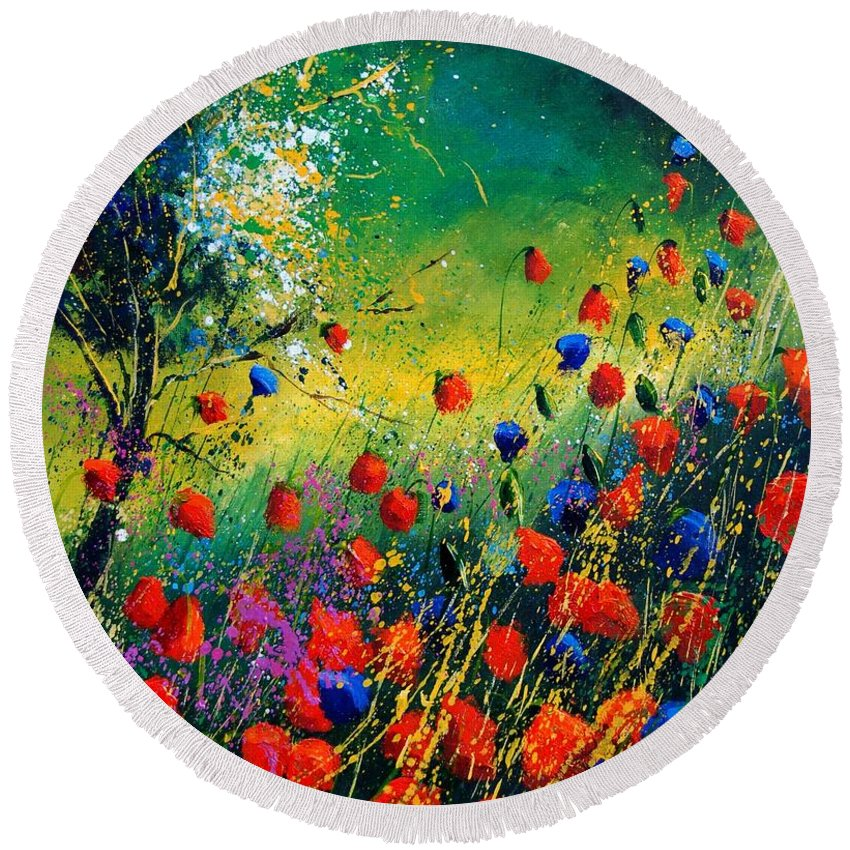 Flowers Round Beach Towel featuring the painting Red And Blue Poppies by Pol Ledent