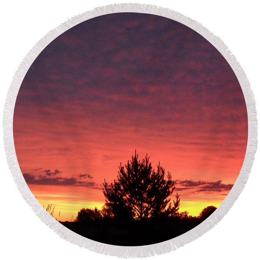 Clouds Round Beach Towel featuring the photograph Red And Orange June Dawn Sky by Kent Lorentzen