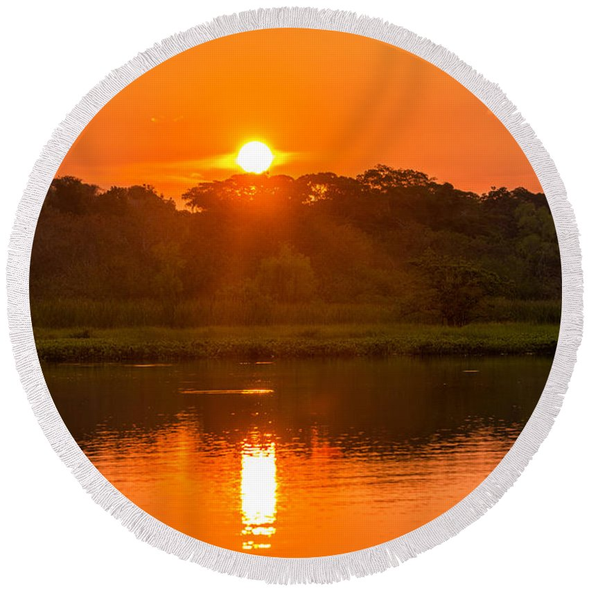 Lake Round Beach Towel featuring the photograph Red And Orange Jungle Sunset by Jess Kraft
