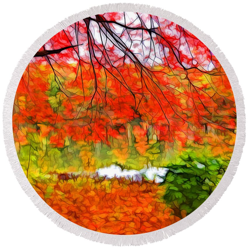 Colorful Tree Round Beach Towel featuring the painting Red And Orange by Lilia D