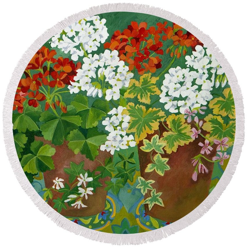 Geranium Round Beach Towel featuring the painting Red And White Geraniums In Pots by Jennifer Abbot