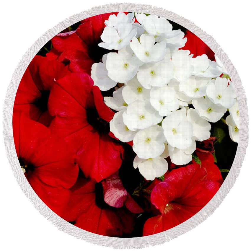Flowers Round Beach Towel featuring the photograph Red And White by Greg Fortier