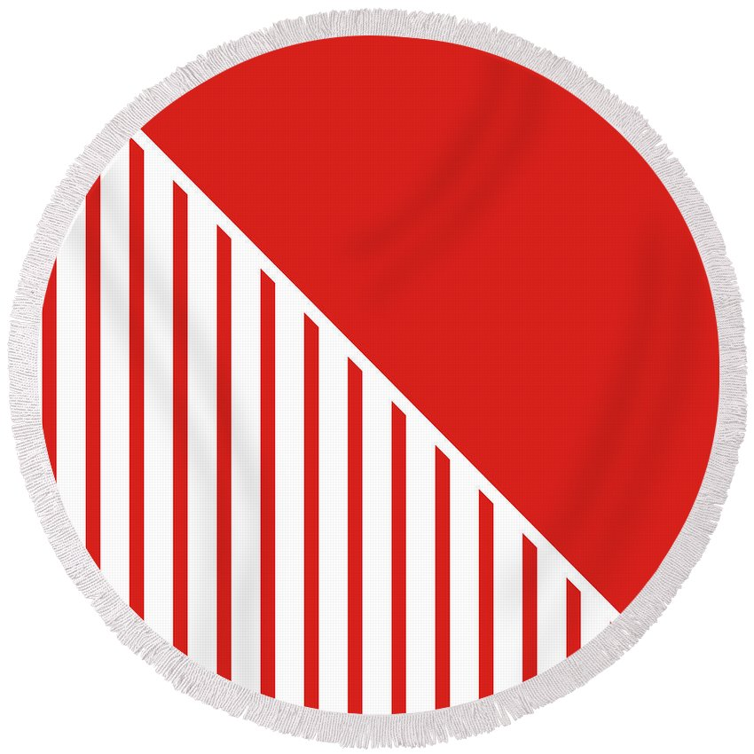 Red Round Beach Towel featuring the digital art Red And White Triangles by Linda Woods