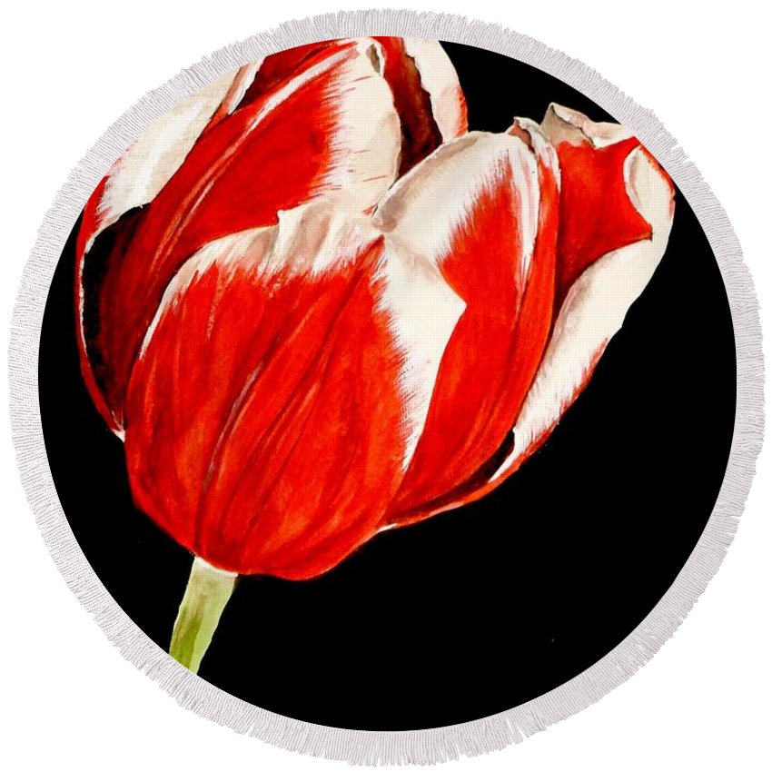Tulip Painting Round Beach Towel featuring the painting Red And White Tulip by Carol Blackhurst