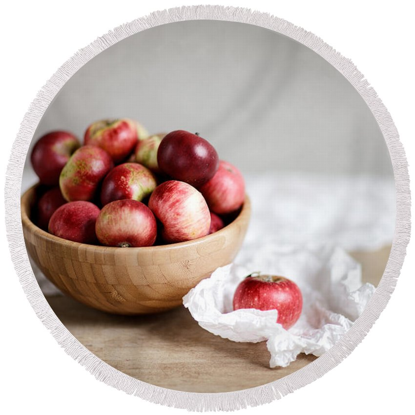 Apple Round Beach Towel featuring the photograph Red Apples Still Life by Nailia Schwarz