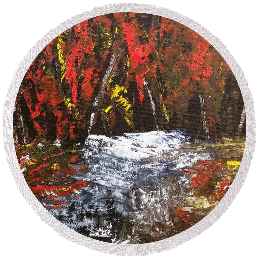 Oil Round Beach Towel featuring the painting Red Autumn Brilliance by Sallie Wysocki