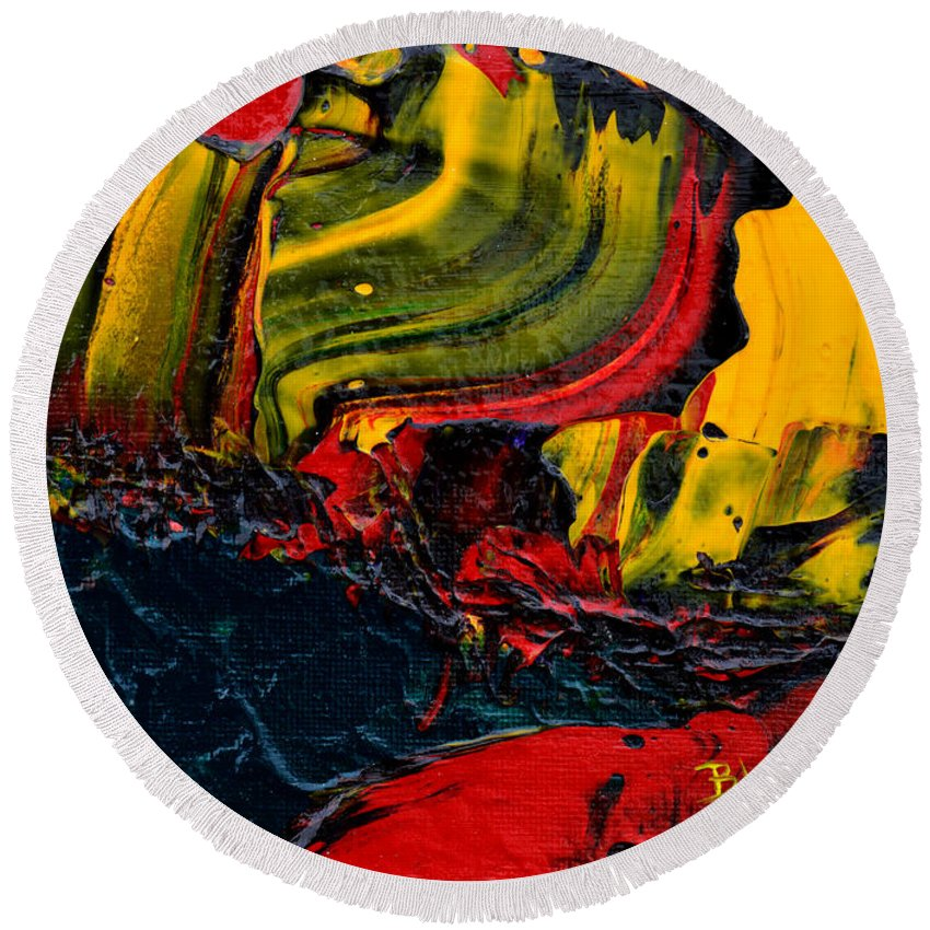Bold Abstract Round Beach Towel featuring the painting Red Balloon In The Storm by Donna Blackhall