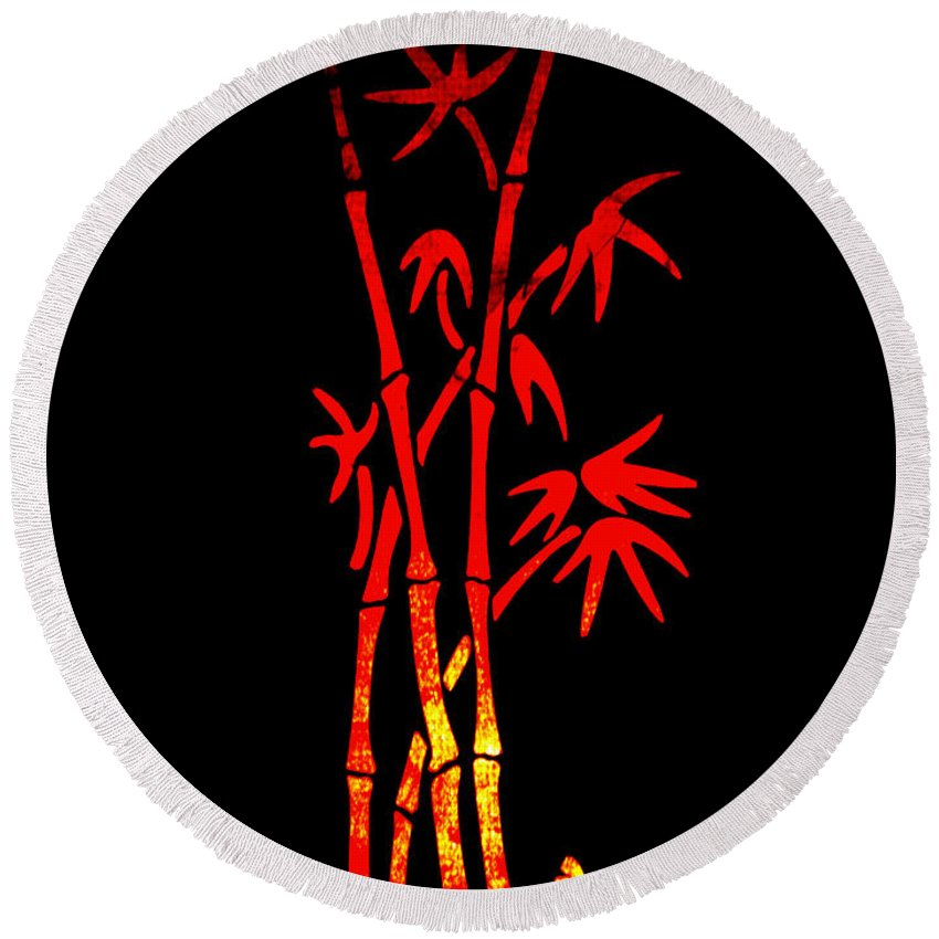 Patzer Round Beach Towel featuring the photograph Red Bamboo by Greg Patzer