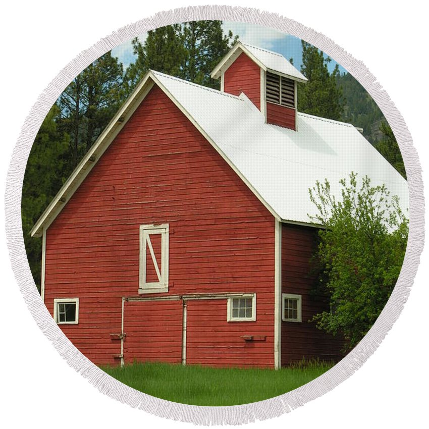 Red White Round Beach Towel featuring the photograph Red Barn Montana by Diane Greco-Lesser