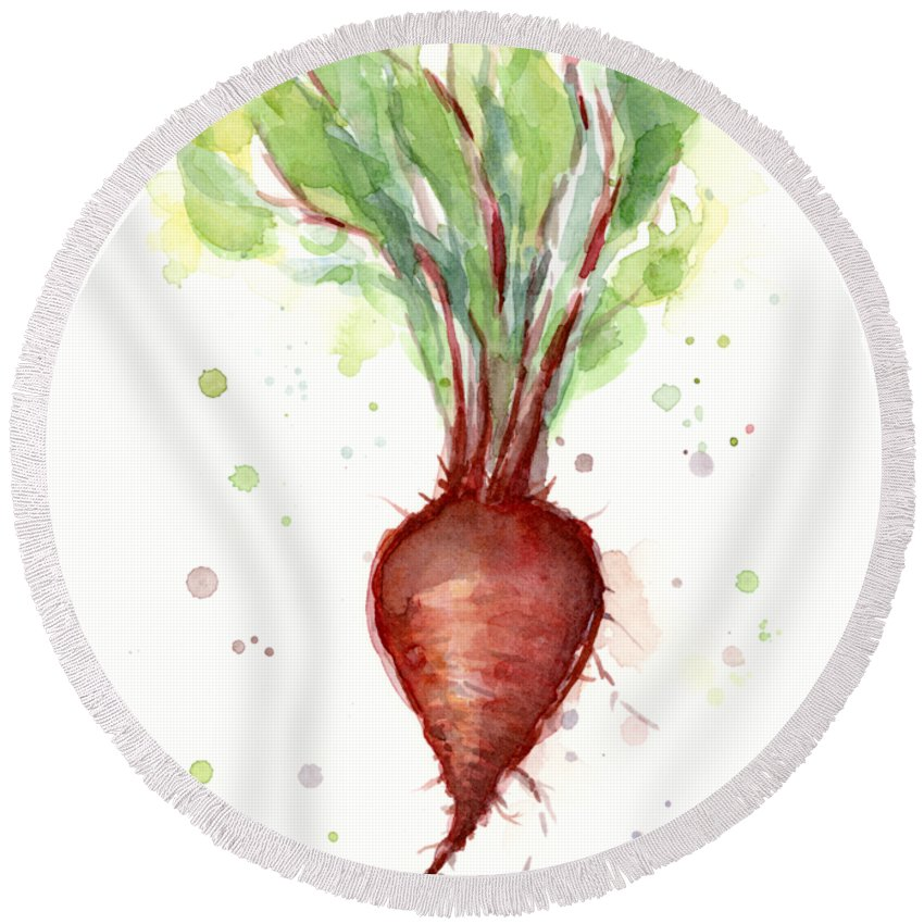 Watercolor Round Beach Towel featuring the painting Red Beet Watercolor by Olga Shvartsur