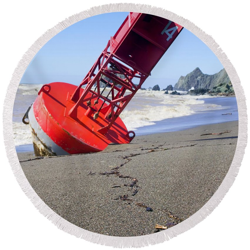 Bell Round Beach Towel featuring the photograph Red Bell Buoy On Beach With Bottle by Garry Gay