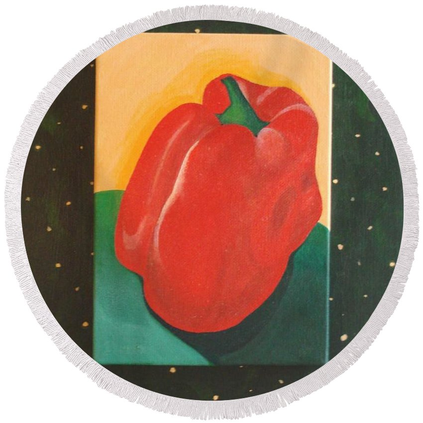 Bell Pepper Round Beach Towel featuring the painting Red Bell by Helena Tiainen