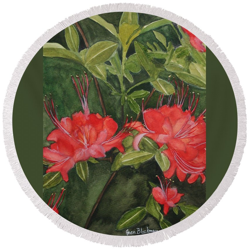 Flowers Round Beach Towel featuring the painting Red Blooms On The Parkway by Jean Blackmer