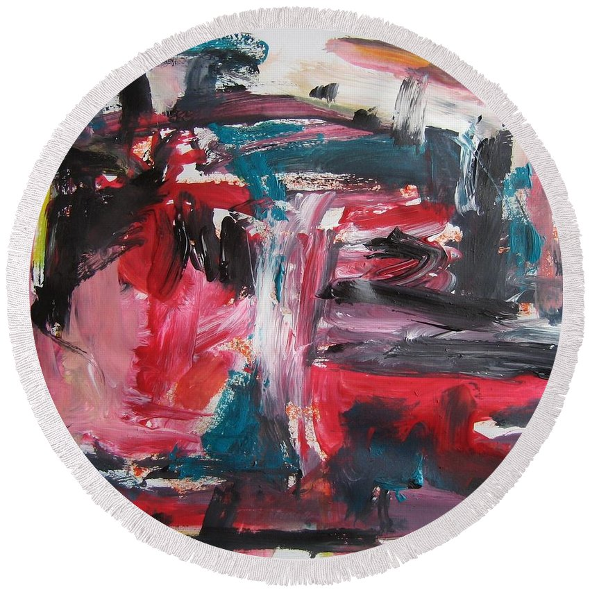 Abstract Red Paintings Round Beach Towel featuring the painting Red Blue Black Abstract by Seon-Jeong Kim