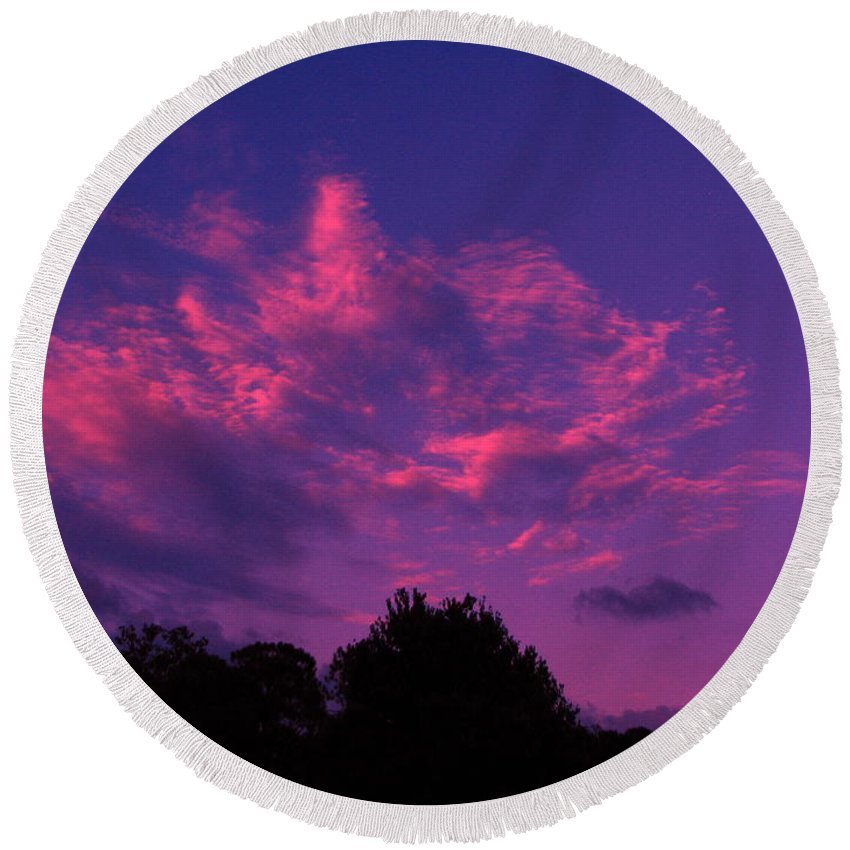 Night Scape Round Beach Towel featuring the photograph Red Blue Sky by Greg Patzer