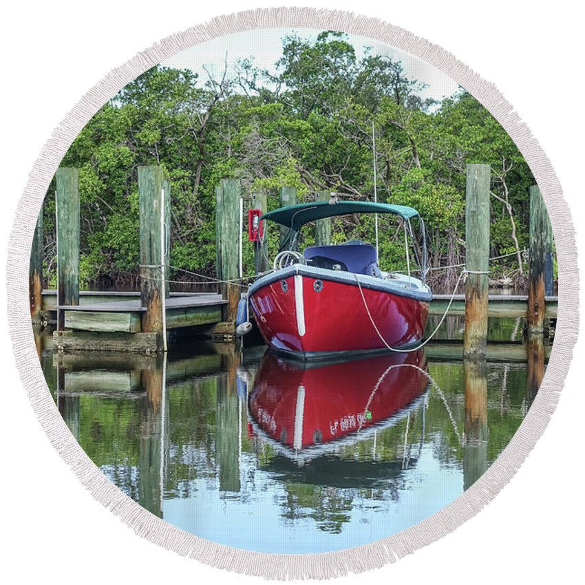 Boat Round Beach Towel featuring the photograph Red Boat Docked Florida by Edward Fielding