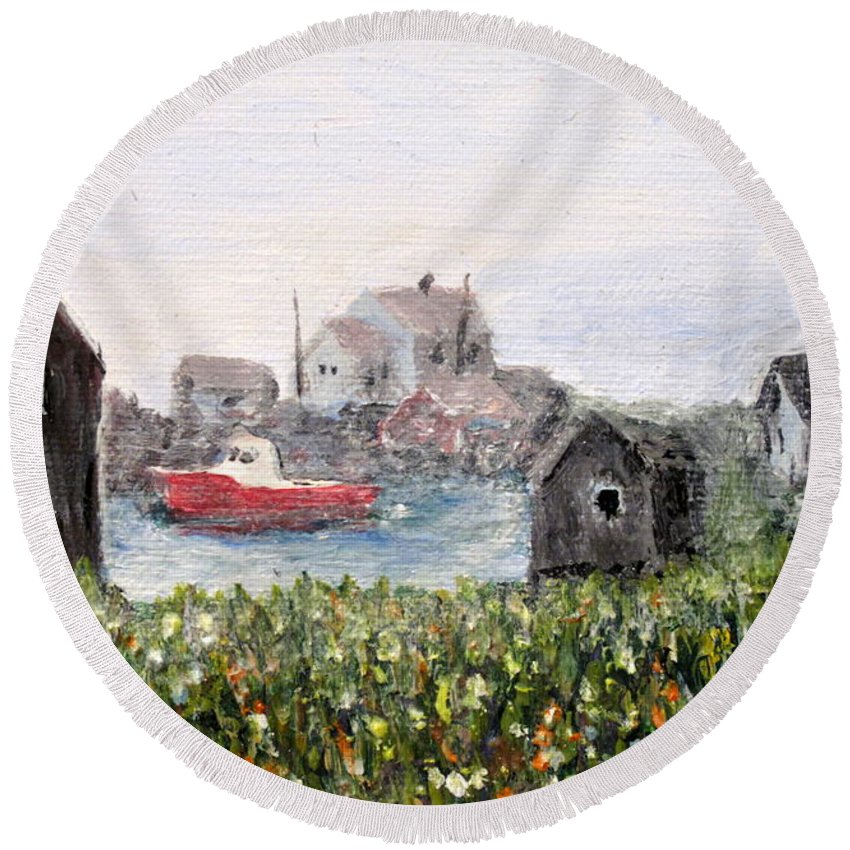 Red Boat Round Beach Towel featuring the painting Red Boat In Peggys Cove Nova Scotia by Ian MacDonald