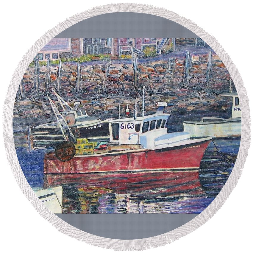 Boat Round Beach Towel featuring the painting Red Boat Reflections by Richard Nowak
