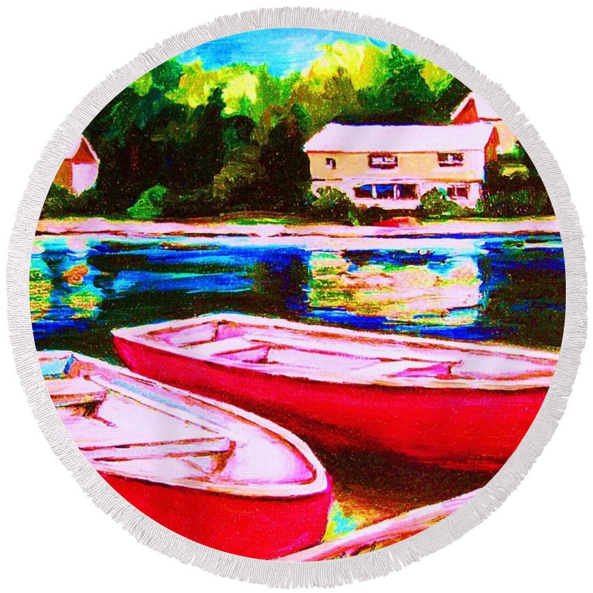 Red Boats Round Beach Towel featuring the painting Red Boats At The Lake by Carole Spandau