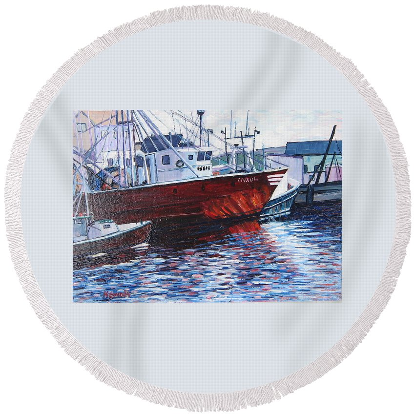 Boats Round Beach Towel featuring the painting Red Boats by Richard Nowak