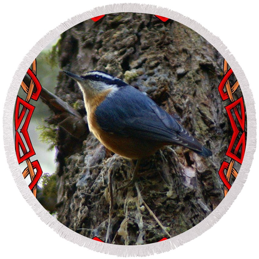 Birds Round Beach Towel featuring the photograph Red Breasted Nuthatch 2 by Ben Upham III