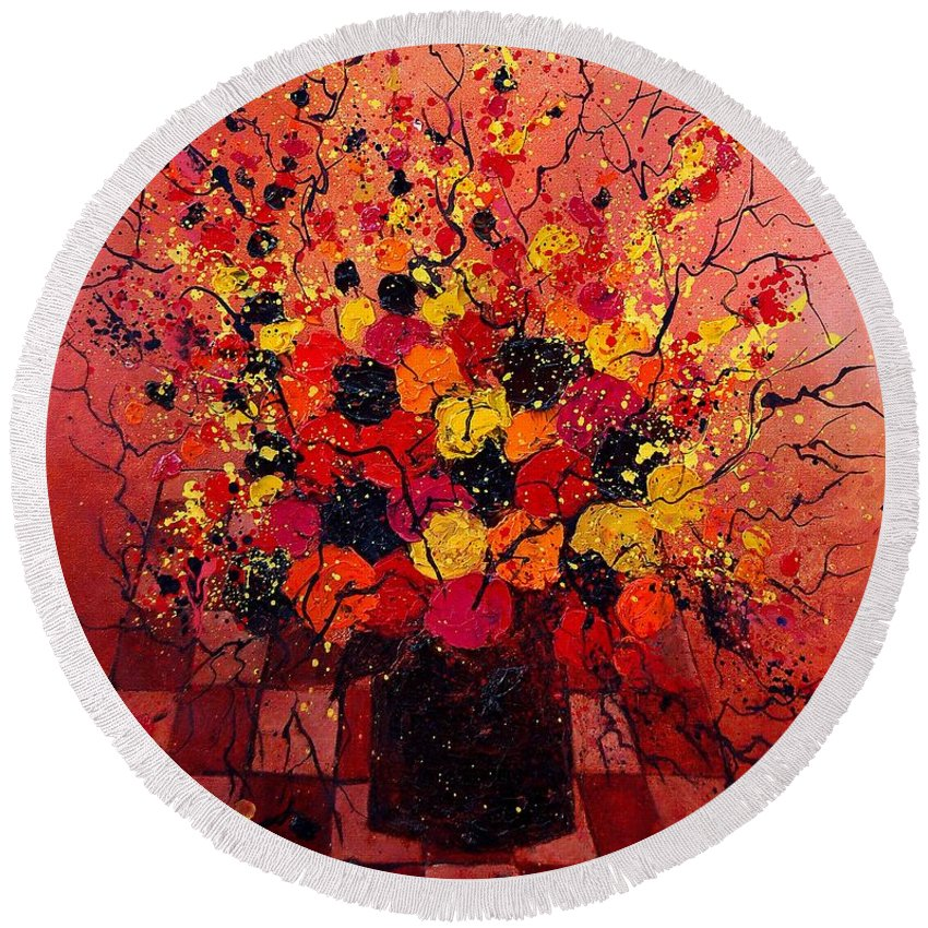 Flowers Round Beach Towel featuring the painting Red Bunch by Pol Ledent
