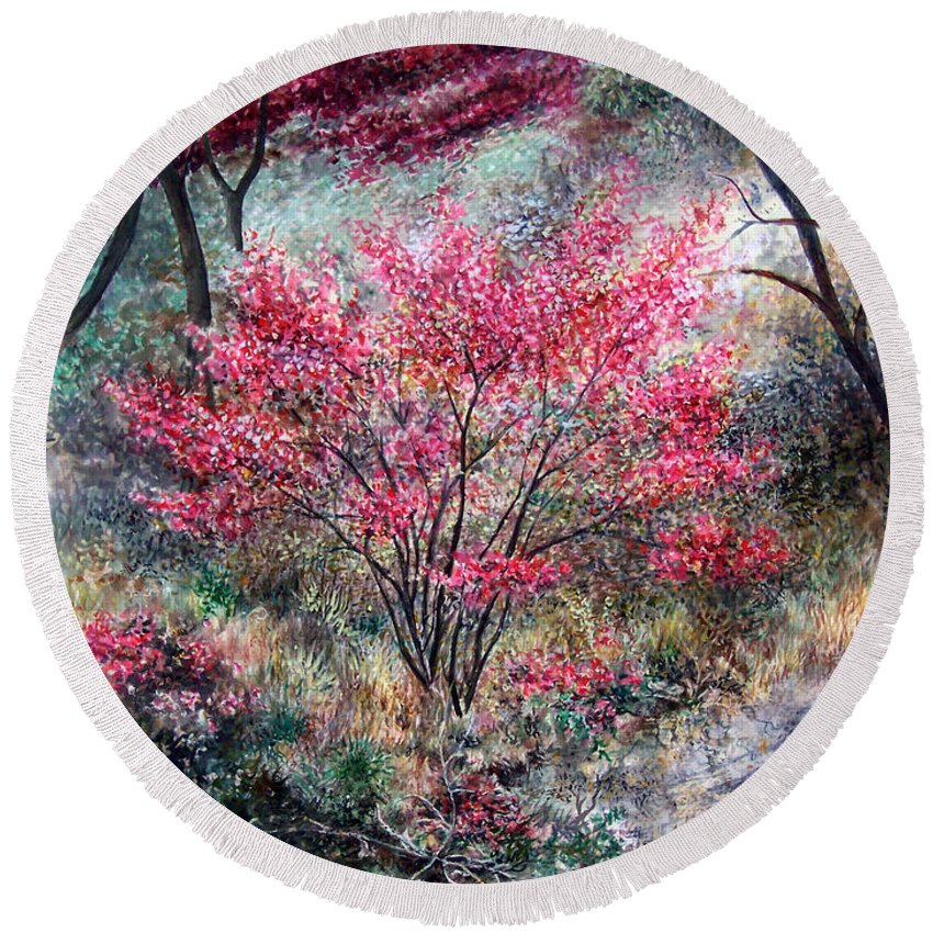 Landscape Round Beach Towel featuring the painting Red Bush by Valerie Meotti