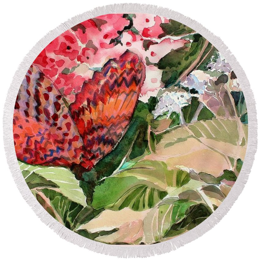 Butterfly Round Beach Towel featuring the painting Red Butterfly by Mindy Newman