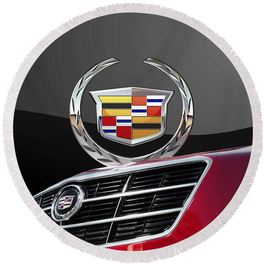 'auto Badges' By Serge Averbukh Round Beach Towel featuring the photograph Red Cadillac C T S - Front Grill Ornament and 3D Badge on Black by Serge Averbukh