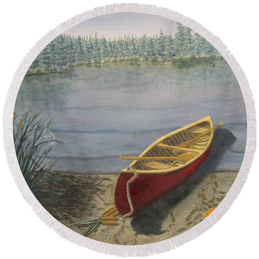 Landscape Round Beach Towel featuring the painting Red Canoe 3 by J O Huppler