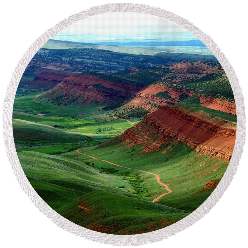 Jenny Gandert Round Beach Towel featuring the photograph Red Canyon by Jenny Gandert