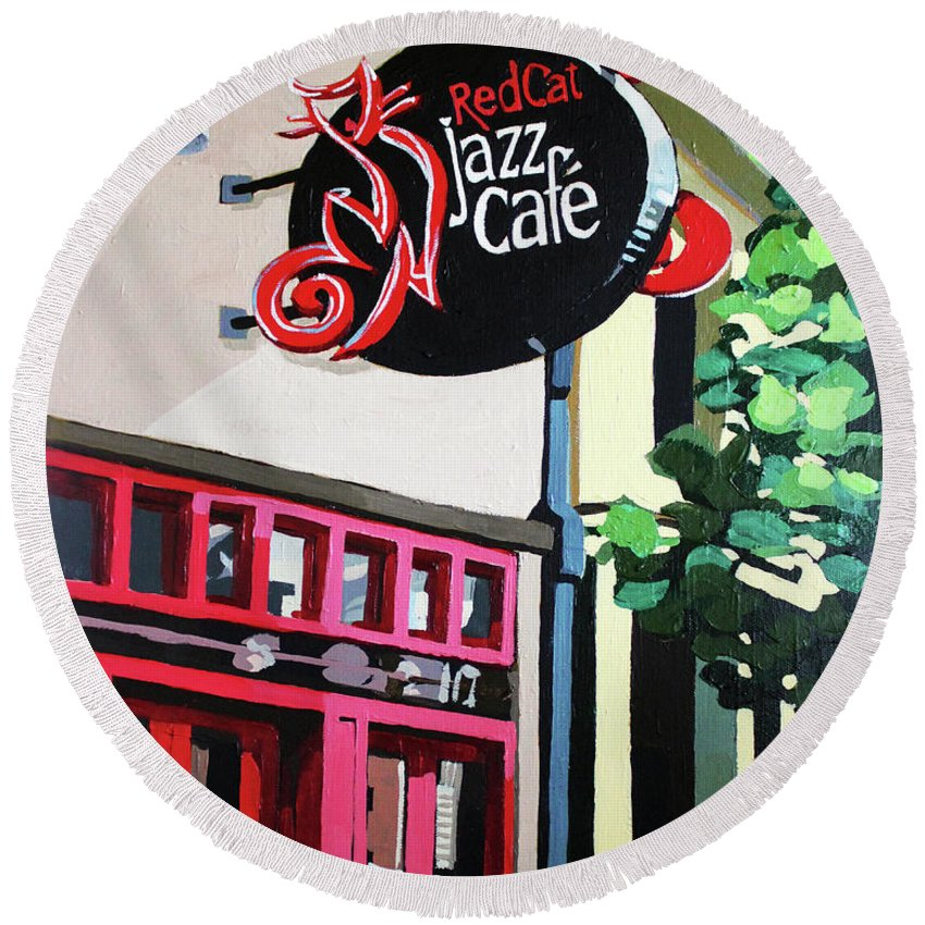 Cityscape Round Beach Towel featuring the painting Red Cat Jazz Cafe by Melinda Patrick