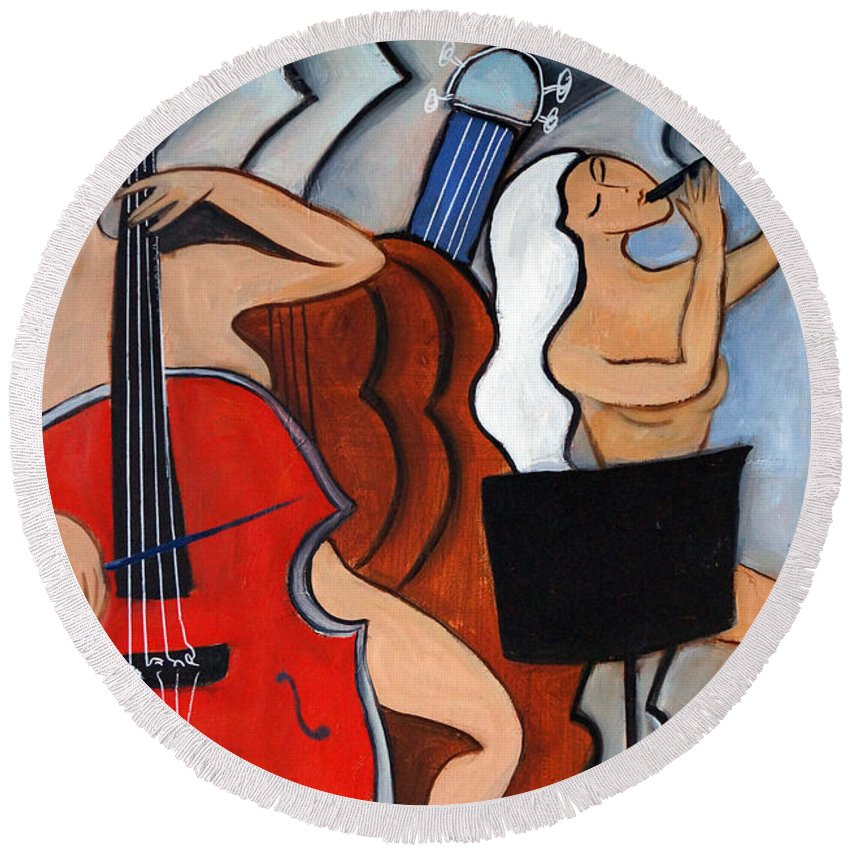 Cubic Abstract Round Beach Towel featuring the painting Red Cello 2 by Valerie Vescovi