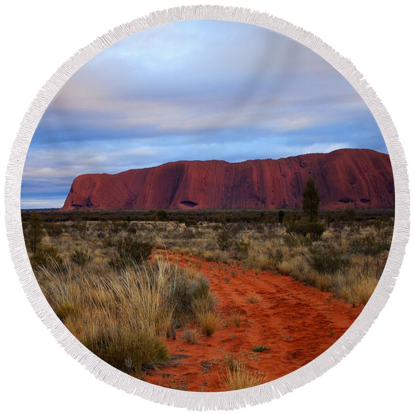 Ularu Round Beach Towel featuring the photograph Red Center Dawn by Mike Dawson