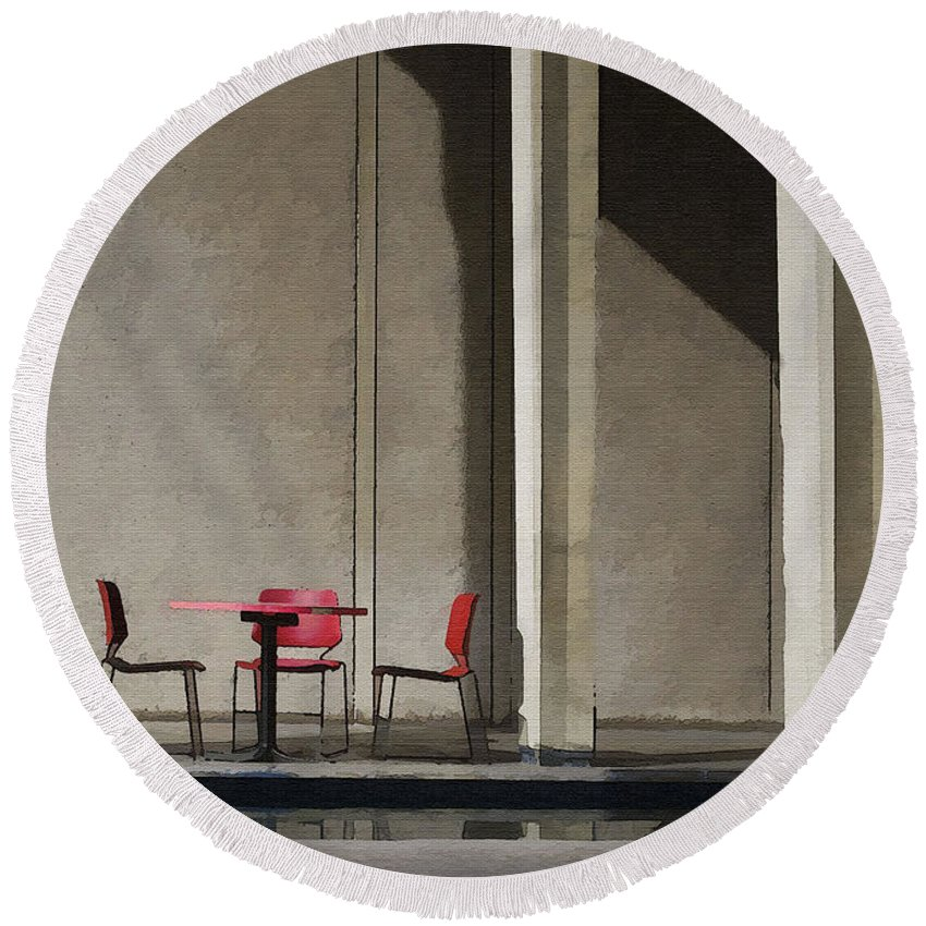 Architecture Round Beach Towel featuring the photograph Red Chairs by Sharon Foster