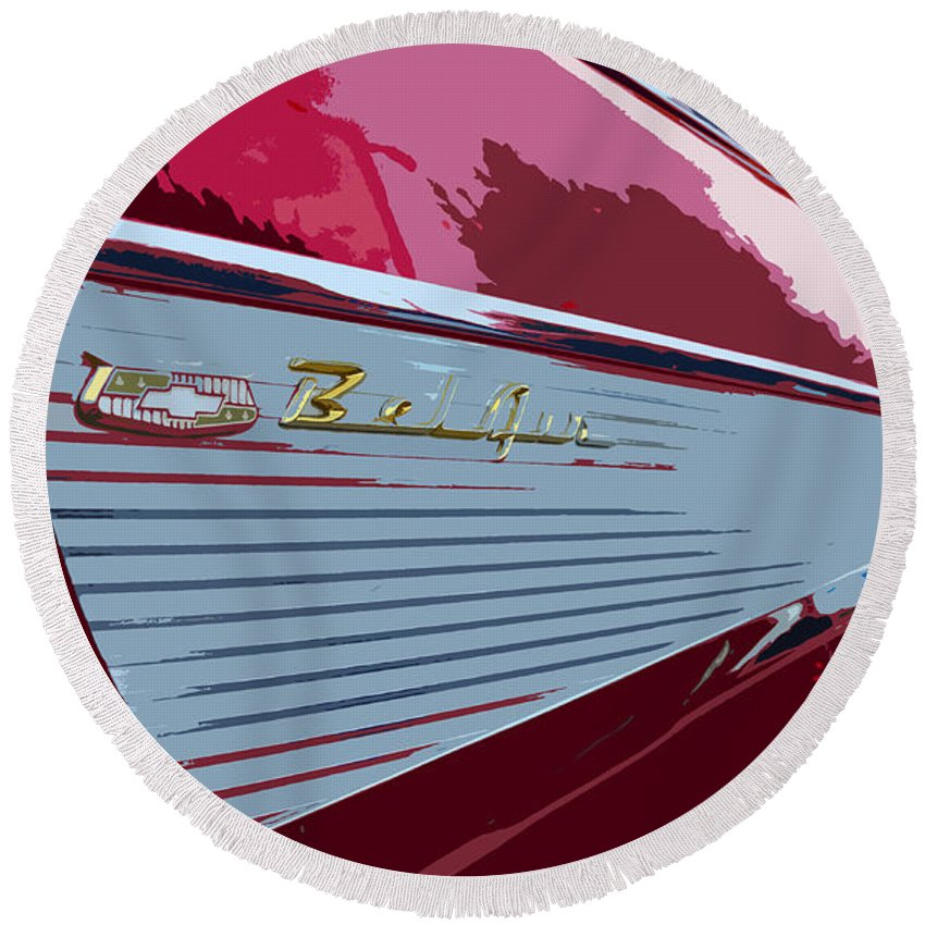 Chevy Round Beach Towel featuring the painting Red Chevy by David Lee Thompson