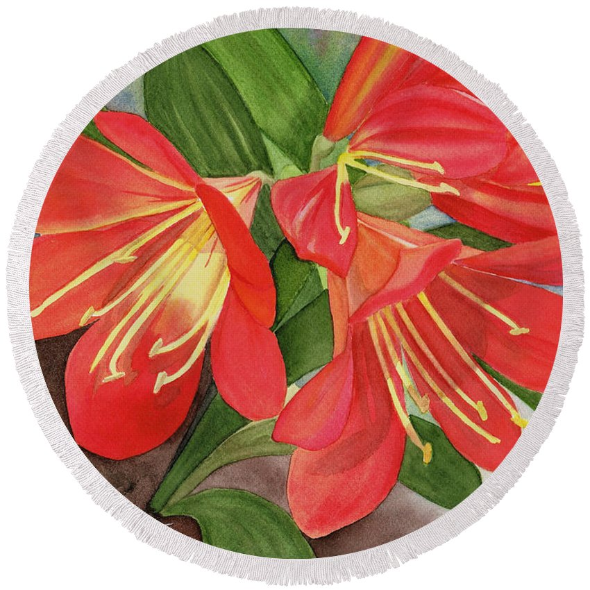 Hao Aiken Round Beach Towel featuring the painting Red Clivias - Watercolor by Hao Aiken