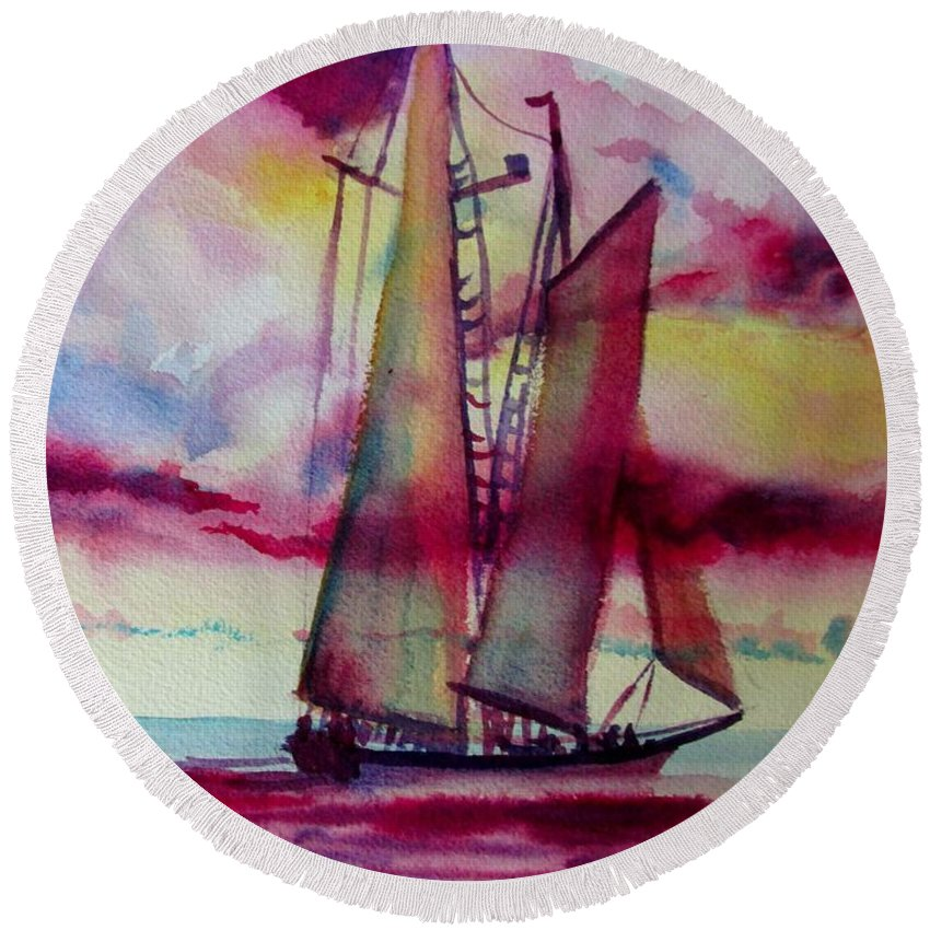 Sailing. Nantuckuct Sound Round Beach Towel featuring the painting Red Cloud Sail by Linda Emerson