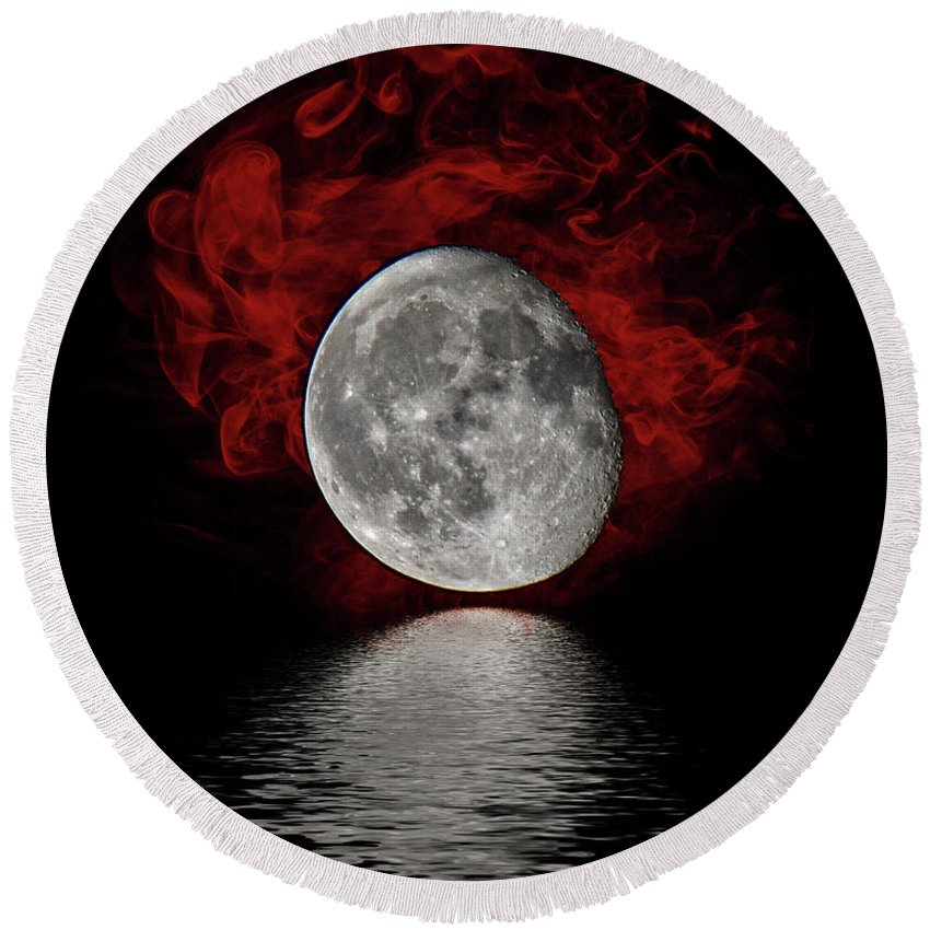 Round Beach Towel featuring the photograph Red Cloud With Moon Over Water by Jeffrey Platt