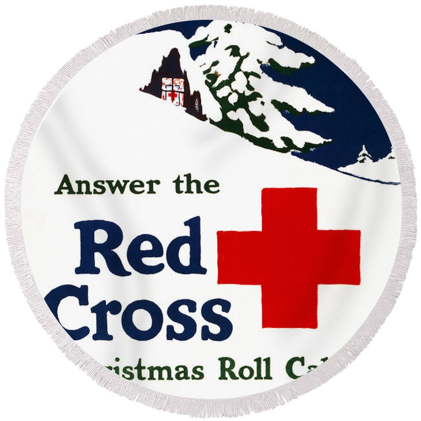 1915 Round Beach Towel featuring the photograph Red Cross Poster, C1915 by Granger