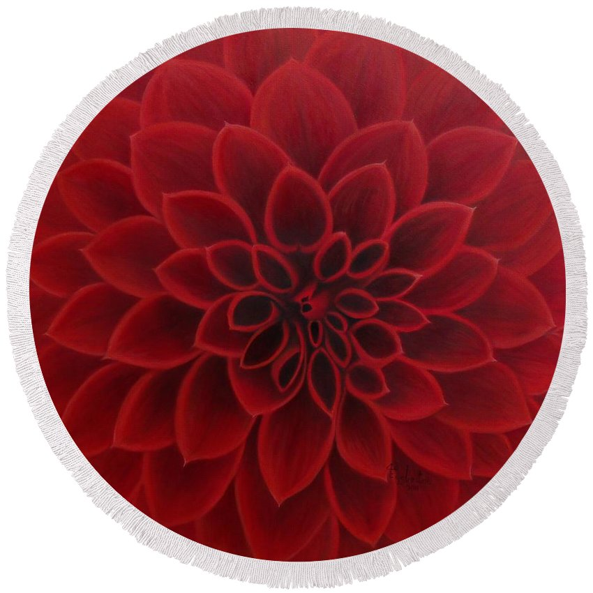 Red Dahlia Round Beach Towel featuring the painting Red Dahlia by Shauna Eggleston