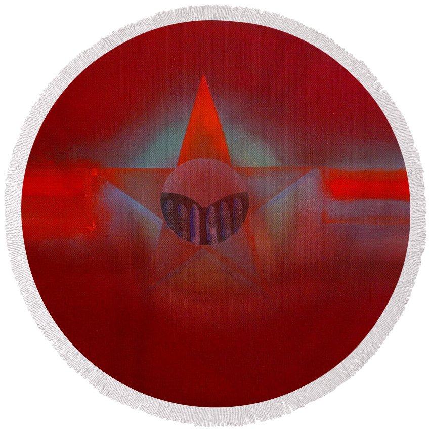 Usaaf Insignia And Idealised Landscape In Union Round Beach Towel featuring the painting Red Dawn by Charles Stuart