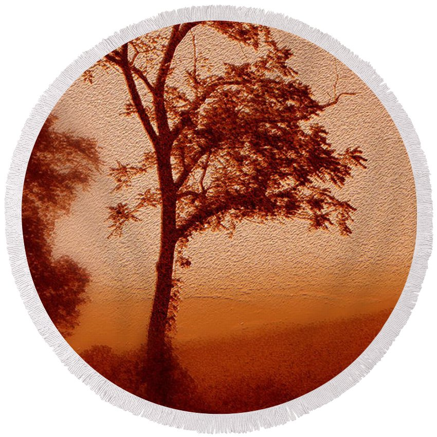 Red Dawn Round Beach Towel featuring the photograph Red Dawn by Linda Sannuti
